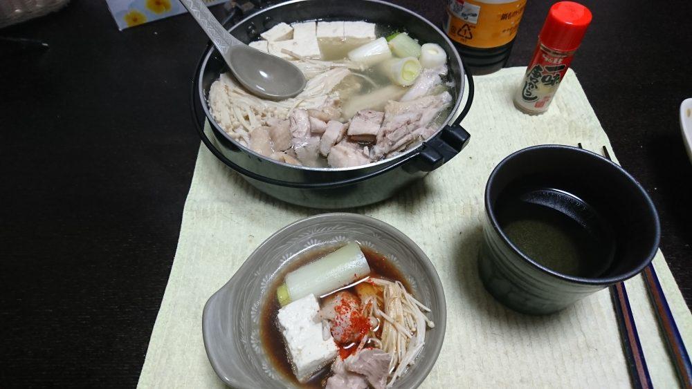 今日の晩酌 鶏の水炊きで。