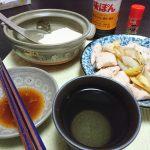 今夜の晩酌 煮豆腐+ササミと長ネギの和え物