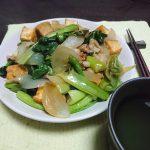今日の晩酌 豚肉と厚揚げの野菜炒め