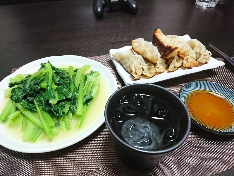 餃子と青菜炒めで晩酌