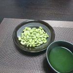 今夜の晩酌 青大豆をつまみ、〆は蕎麦をすすって