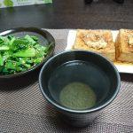 今夜の晩酌 厚揚げ焼きと小松菜のお浸し