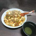 今夜はもずく酢とゆで卵とかぼちゃの煮付け、麻婆豆腐で晩酌