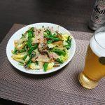 今夜の晩酌 肉野菜炒めを肴にプハ~っと。