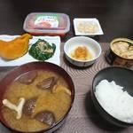 今夜の晩飯 今夜も米と味噌と魚と少しの野菜を食べ…