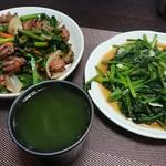 今夜の晩酌 砂肝のニンニクニラ炒めと青菜炒めで一杯