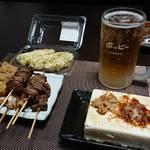 今夜の晩酌 焼き鳥と穂先筍の天ぷらと冷奴をつまみに一杯