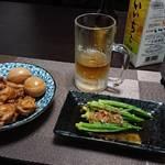 今夜の晩酌 鶏手羽元の甘辛煮とオクラをつまみに一杯