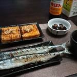 今夜の晩酌 秋刀魚の塩焼きに黒ニンニク、厚揚げ豆腐を肴に一杯