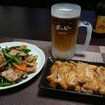 今夜の晩酌 ニンニクの芽と豚バラの炒め物を作って一杯